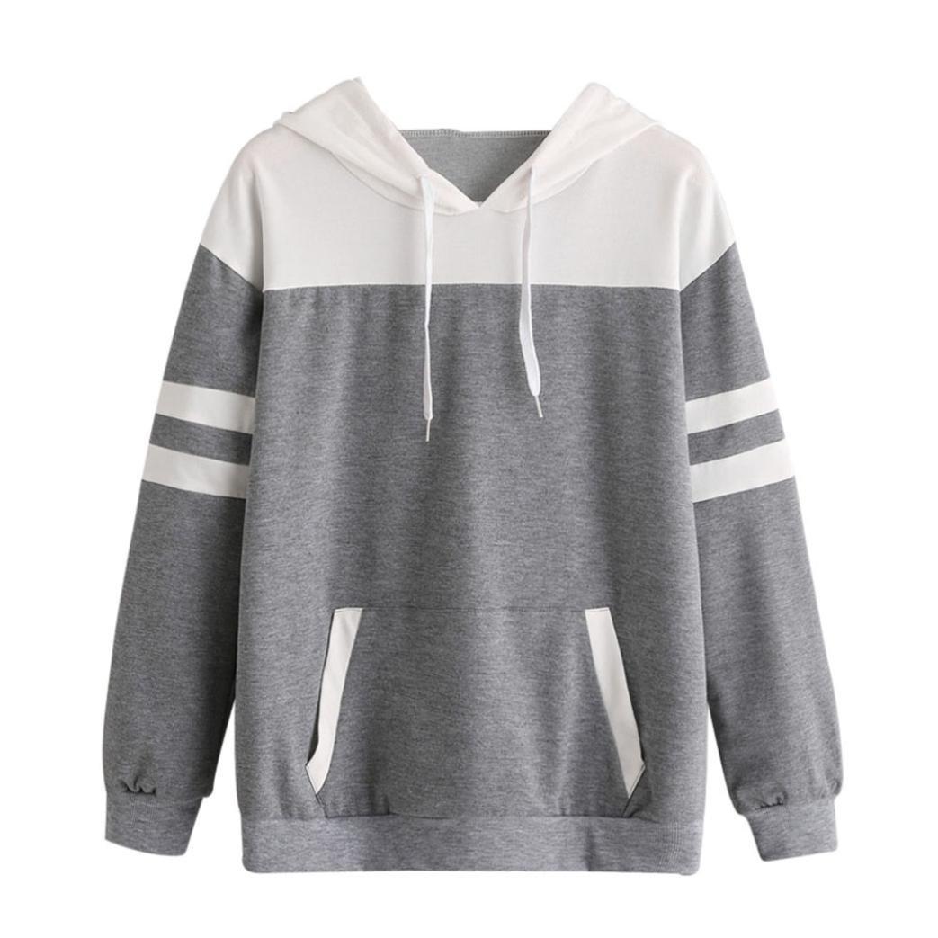 Junshion Womens Striped Patchwork Long Sleeve Hoodie Sweatshirt Hooded Pullover Tops