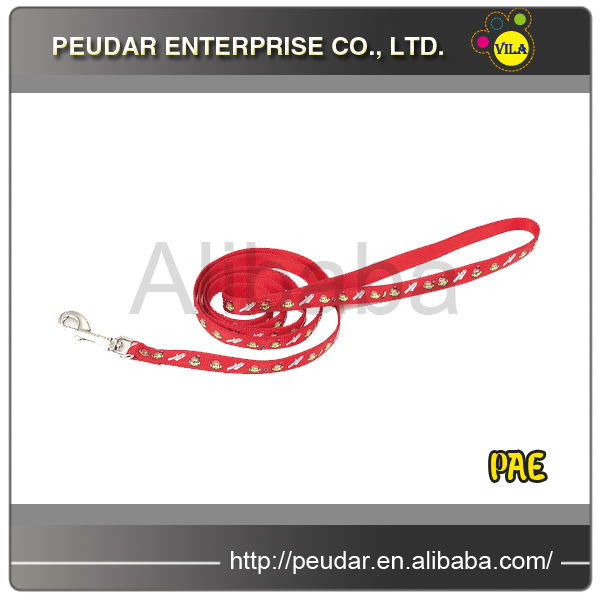 Red Monkey Pattern Nylon Reflective Dog Collar