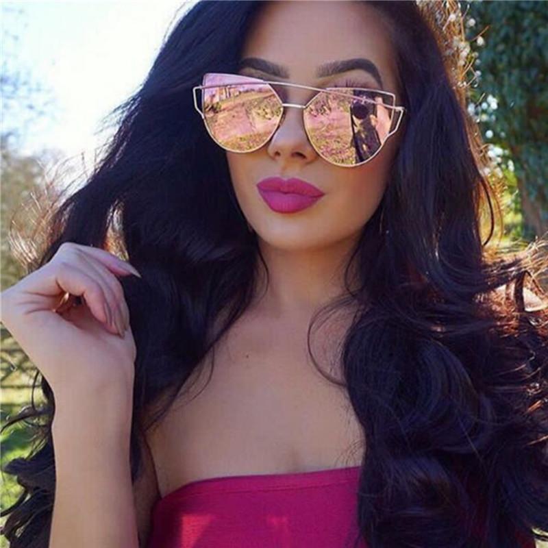 2d709c4f530 2018 Cat Eye vintage Brand designer rose gold mirror Sunglasses For Women  Metal Reflective flat lens