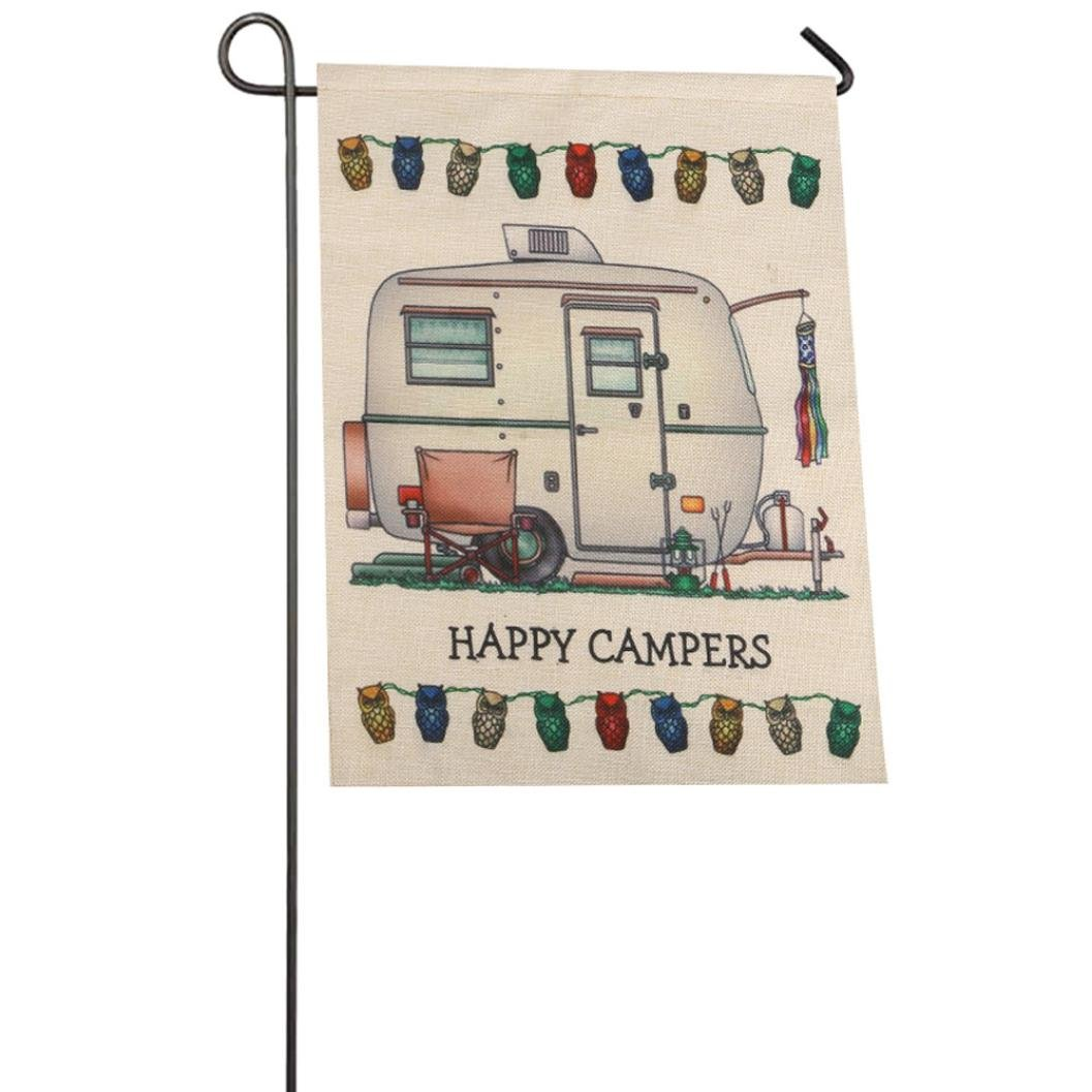 Auwer Happy Campers Pattern Garden Flag Indoor Outdoor Home Decor Car Flag Burlap Monogram Fabulous Decorative Colorful Multicolor Garden Flag 12.6 x 18 Inches (A)