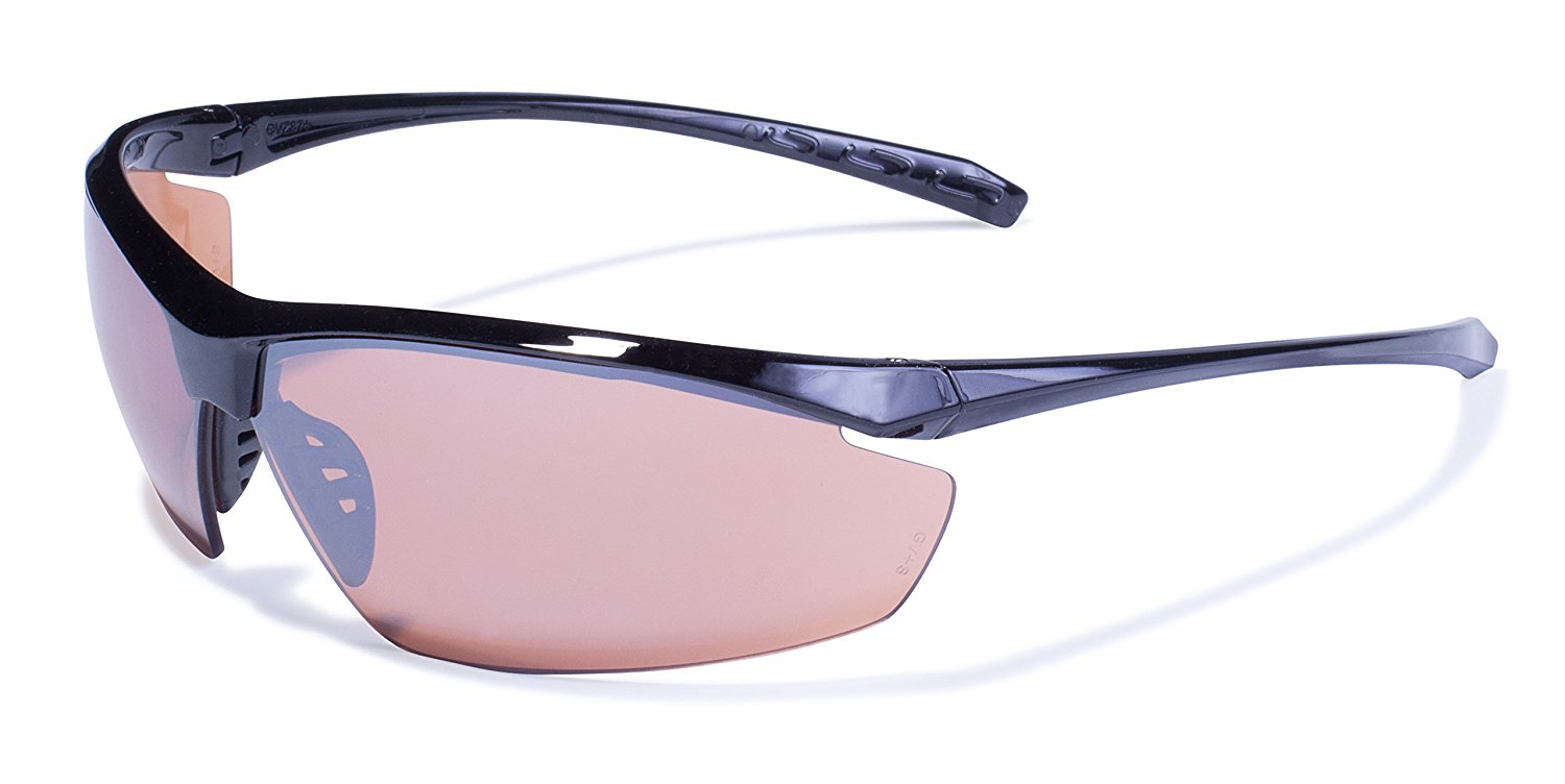 Global Vision Eyewear Lieutenant Safety Glasses with Gloss Black Frames and Driving Mirror Lenses