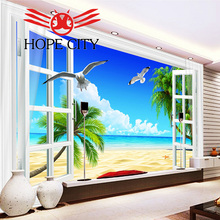 Seascape 3D windows TV wall ceramic wall tiles