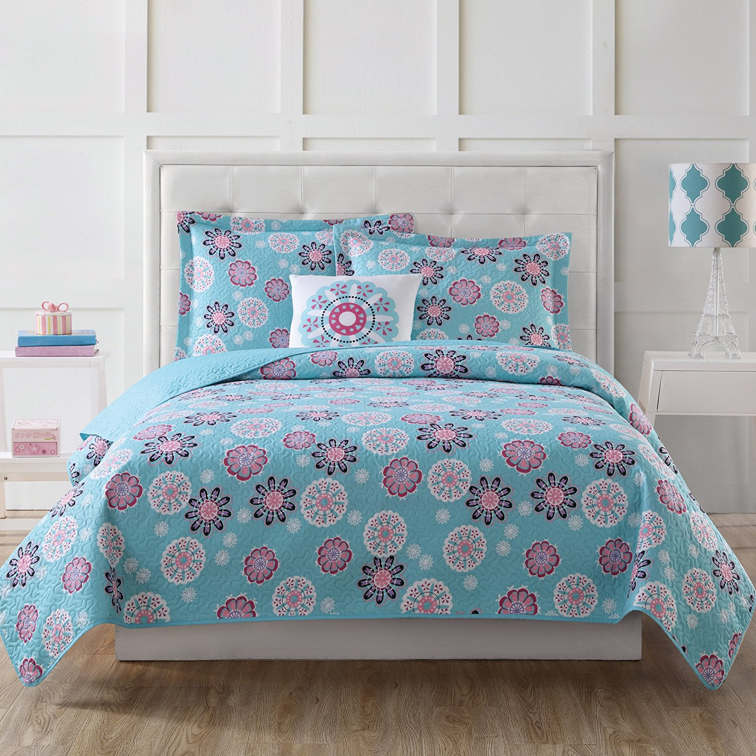 CA 3 Piece Girls Multi Color Medallion Graphic Printed Quilt Set Twin, Aqua Blue White Floral Geometric Design Teen Themed Kids Bedding for Bedroom Eye Catchy Trendy Colorful, Microfiber