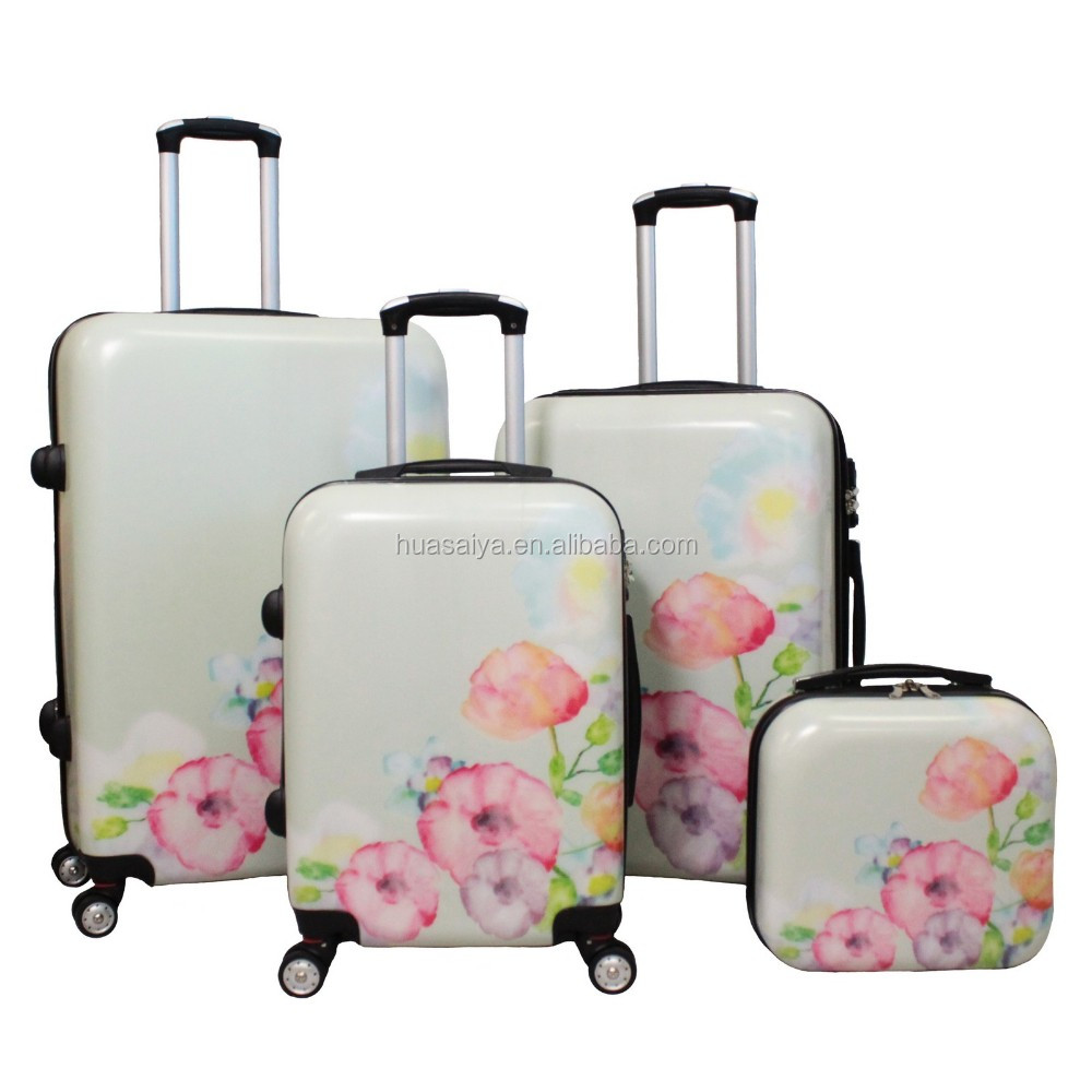 2016 hot selling flowers printed pink red color trolley travel suitcase