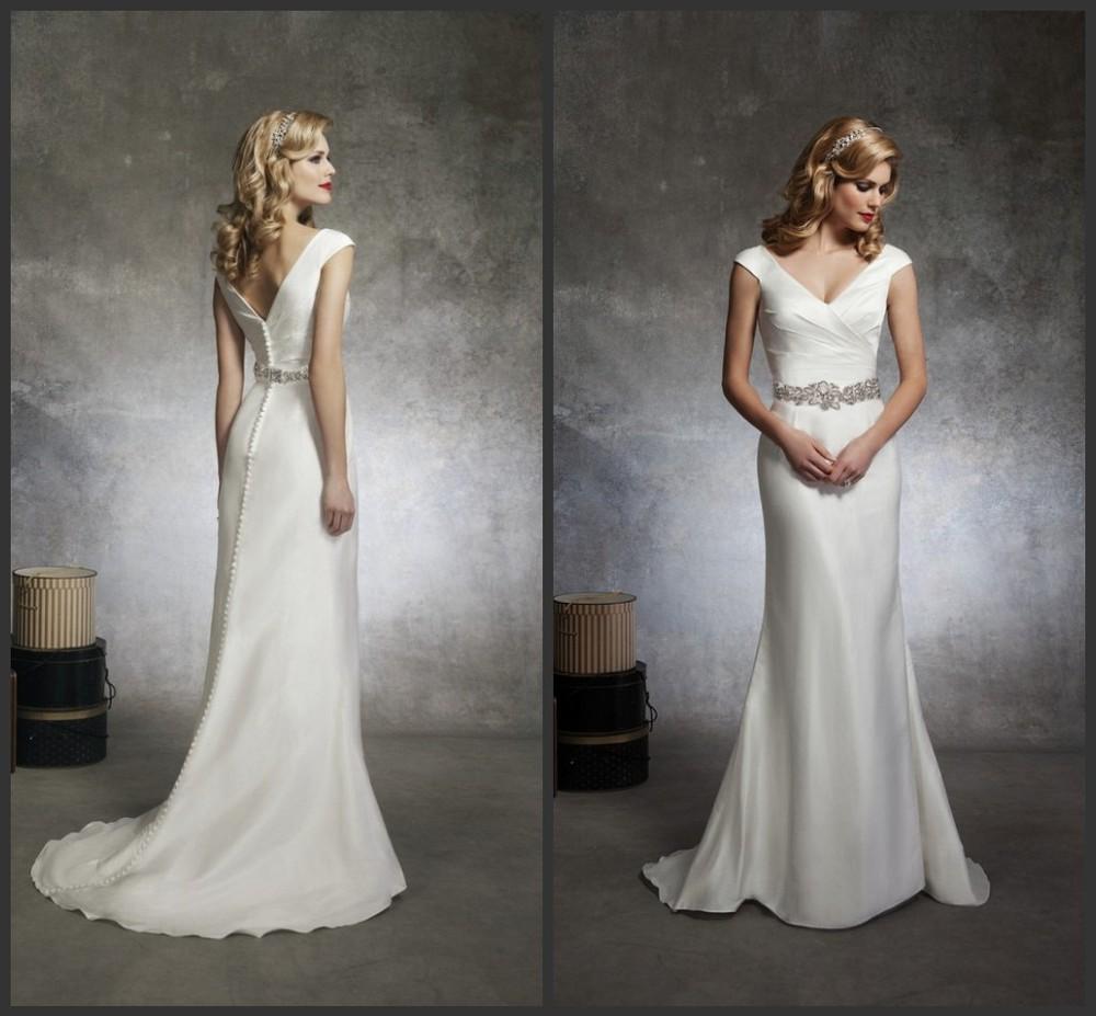 Elegant Silk Wedding Dresses With Sleeves: Elegant-Cap-Sleeve-Mermaid-Satin-Wedding-Dresses-Hot