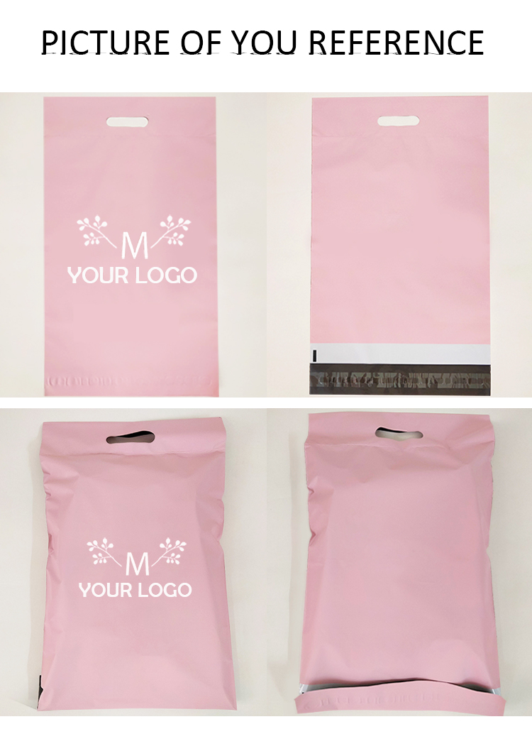 biodegradable matt pink mail plastic shipping package bag with handle for courier