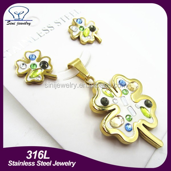 Beautiful Jewelry 316L Stainless Steel Four Leaf Clover Moti Jewelry Set