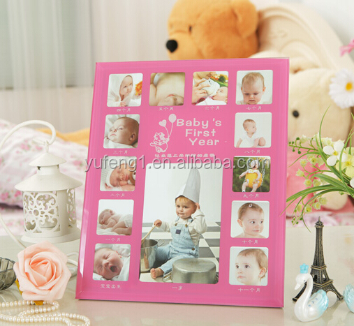 Classic pink girl 1st Year glass Baby Photo Frame 12 Month digital Photo frame