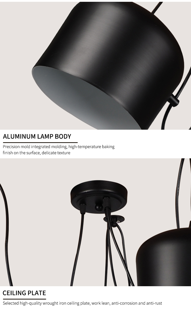 China modern lustre hotel lighting Alumina Acrylic black lampshade SMD led pendant lamp