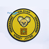 yellow custom round cheap puff embroidery patch