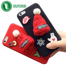 cell phone accessories for iPhone 7 lovely woolen christmas hat for iPhone 8 case
