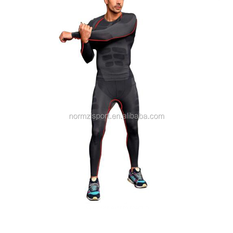 Tight Sports Fitness Athletic Skin Long Sleeve Men Compression Wear Shirts