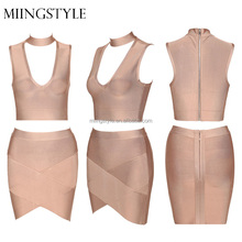Women two pieces set sexy bandage evening dress short prom for sale
