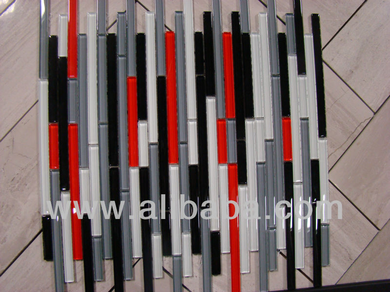 """AUTOSTRADA"" red white black grey glass mosaic tile strips backsplash tiles"