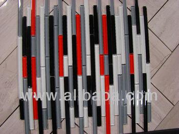 Autostrada Red White Black Grey Gl Mosaic Tile Strips Backsplash Tiles