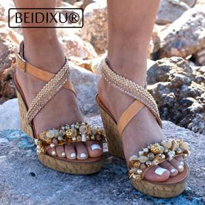 Boho Shoes Beach Straps Handmade Cork Chic New Gold Buckle Wedding Beaded Sandals Wedged Platform Yg6bf7yIv