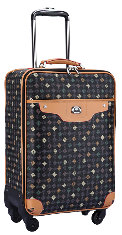 soft low price scratch resistant PU leather luggage bags travel suitcase with universal wheels