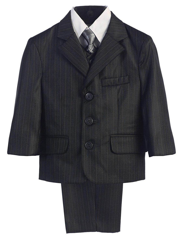 Swea Pea & Lilli Lito Baby Boys Dark Grey Pin-Striped Jacket Vest Shirt Pant Tie Suit 12-18M