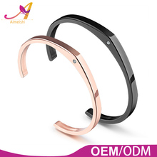 18K rose gold / black plating stainless steel small diamond paved expandable women men cuff bangle bracelet