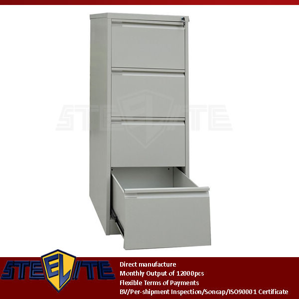 self assembly 4 drawers vertical steel filing cabinet / light grey diy 4-tier tall thin iron chest of drawers for sale