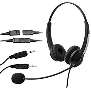 Voistek Corded Binaural Call Center Telephone Headset Noise Cancelling Headphone with Mic Complete with PLT(28959-01) Compatible Quick Disconnect Cord with Dual 3.5mm Audio Plug, Headset to PC Sound Cards VOIP Adapter Cable (S20NP35DMM)