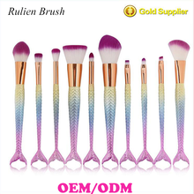 high quality 10 pcs/set makeup brushes mermaid makeup brush set rainbow