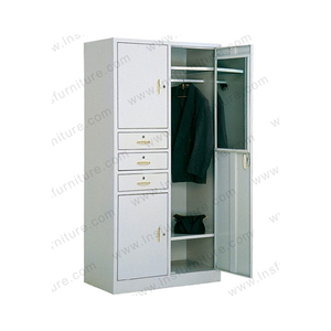 Lateral 3 drawer 3 doors metal cloth wardrobe with mirror