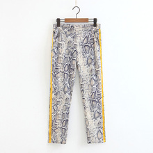 Zipper fly fashion snake skin print <strong>pants</strong> new <strong>design</strong> <strong>women</strong> high street <strong>trousers</strong> with blouse match