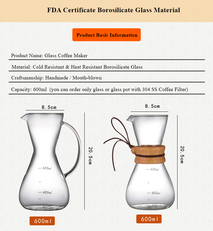 600ml Handblown Borosilicate Heat Resistant Pour Over Glass Coffee Maker Glass Coffee Pot