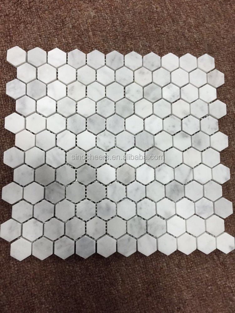 carrara marmor geschliffen 1 zoll hexagon mosaik fliesen. Black Bedroom Furniture Sets. Home Design Ideas