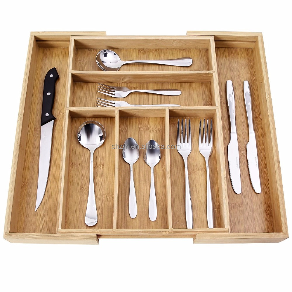 Supply 100% Pure Bamboo Expandable, Utensil - Cutlery and Utility Drawer Organizer