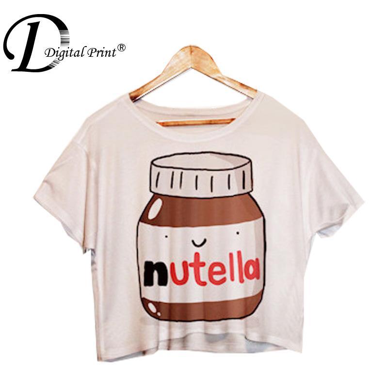 Мода женщины Nutella печать на полях топы короткий рукав рубашки F1003