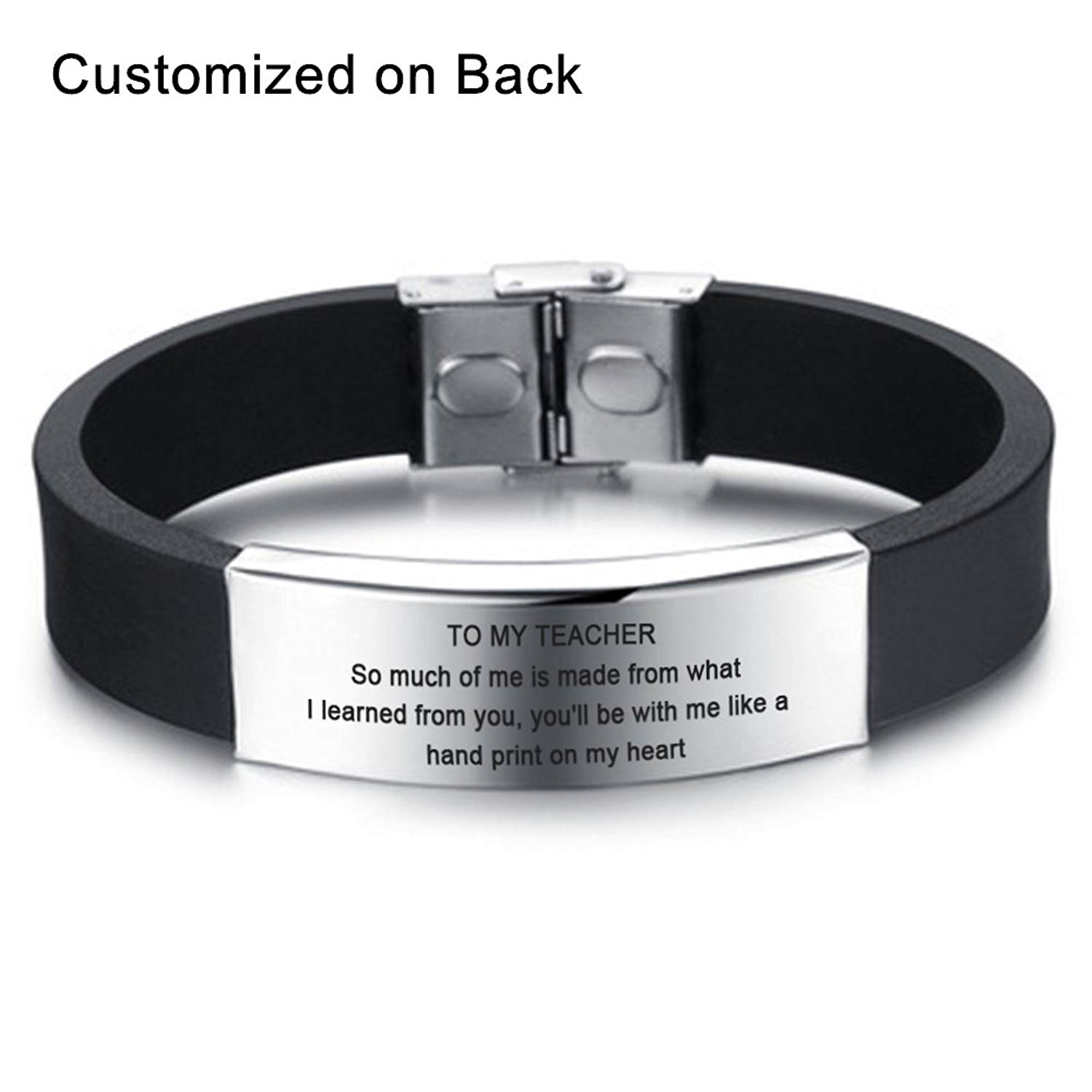LF Mens Stainless Steel Silicone Personalized Name Date Custom To My Teachers Bracelet Gifts Appreciation Inspirational Motivational Cuff Bracelets for Teachers Day Gift,Free Engraving Customized
