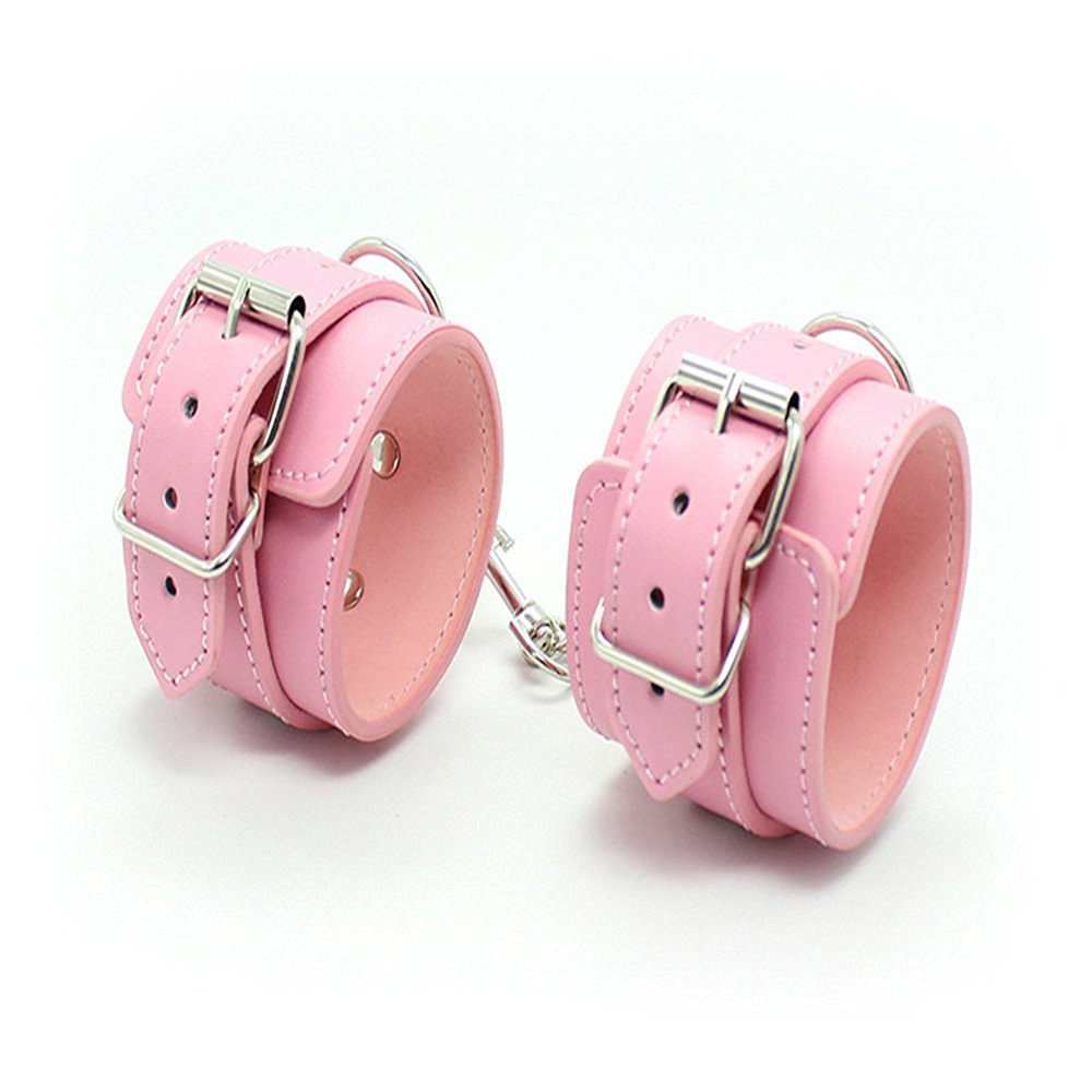 Leather Comfortable Handcuffs Restraints Bondage Flirting Wrist Cuffs for Couples Pink