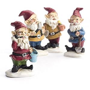 Pair of Assorted Style Painted Resin Miniature Gnome Figures for Fairy Gardens, Terrariums, and Crafting