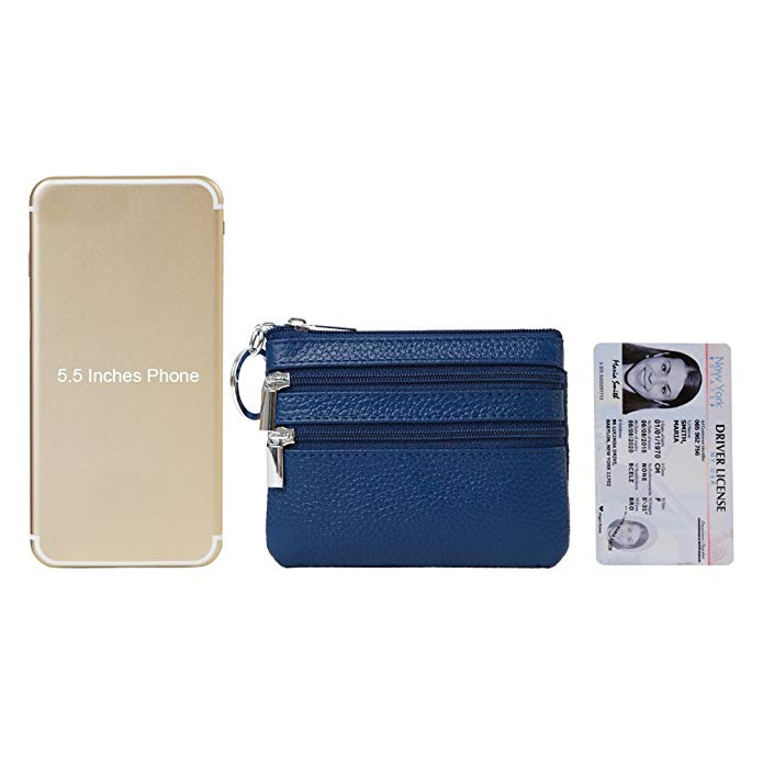 d3cbe18971e3 Women s Genuine Leather Coin Purse Mini Pouch Change Wallet with Key Ring