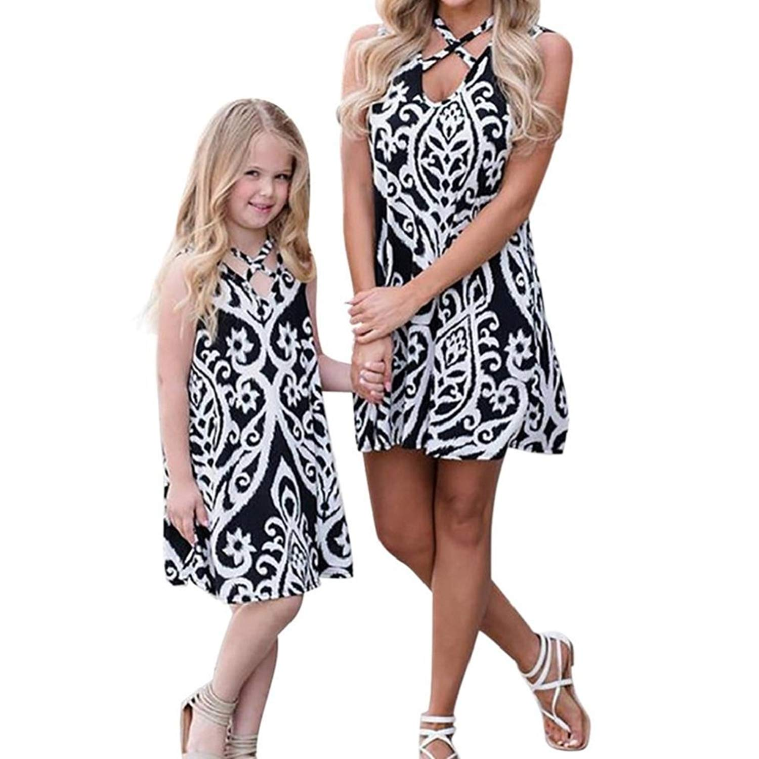 Memela Family Matching Dress Mommy &Me Children Baby Girls Plaid Print Princess Dress Family Clothes