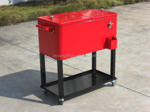beverage metal cooler box with wheels