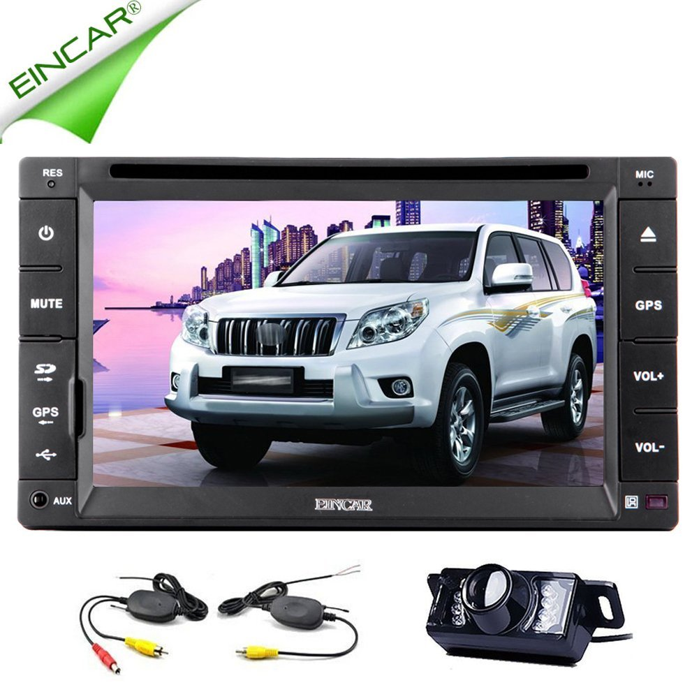 Christmas Sale!!! Accessory EinCar Double Din 6.2 Video Inch Car DVD Player Radio Stereo Motors Capacitive HD Multi touch Screen In Video Dash GPS Navigation Wireless Backup Accessory Camera A