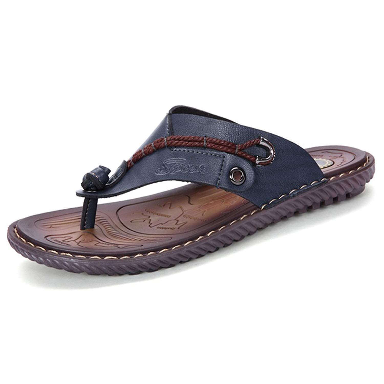 ed2bb3b5c7e83c Get Quotations · MXTSH Mens Flip Flops Casual Leather Home Sandals Mens  Rubber Sole Slippers