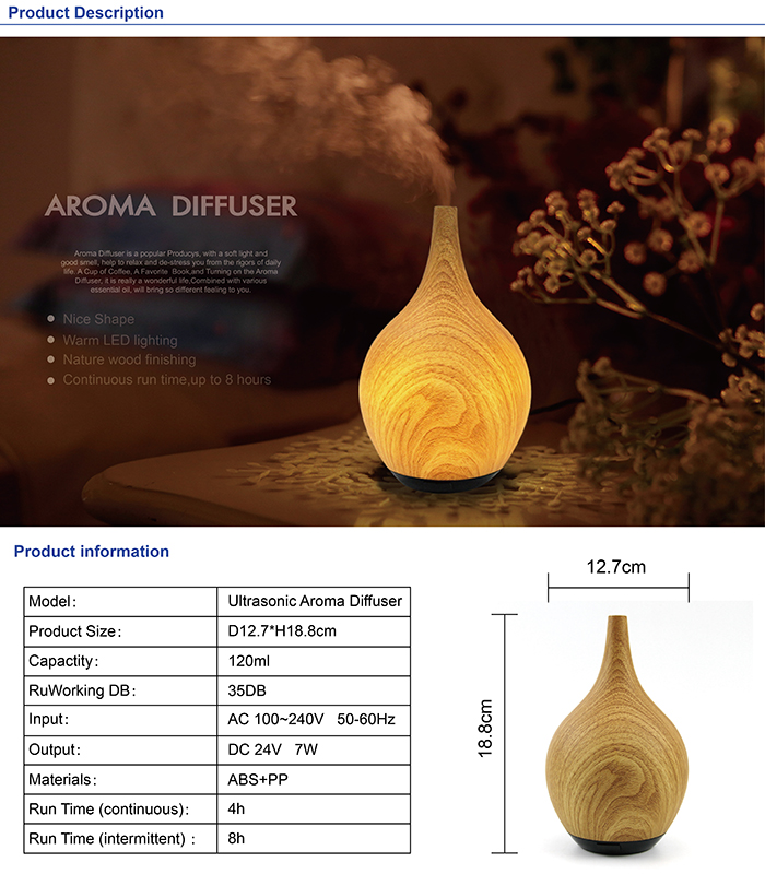 Portable Cool Mist Wood Grain Electronic Ultrasonic Essential Warm Light Wooden Aromatherapy Aroma Diffuser