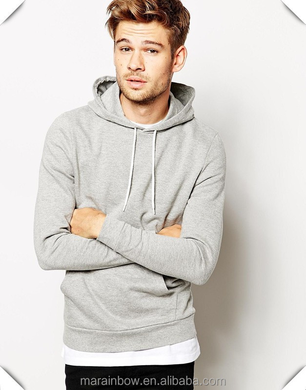 lightweight 100% cotton french terry mens plain grey pullover hoodie wholesale custom made mens pullover sweatshirt