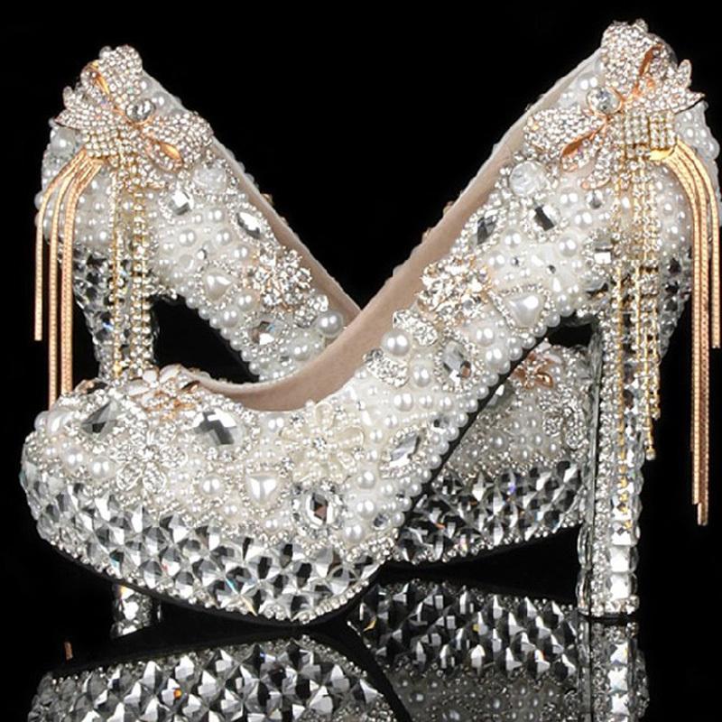 Women's Luxurious Rhinestone Wedding Shoes/Pumps High Heel