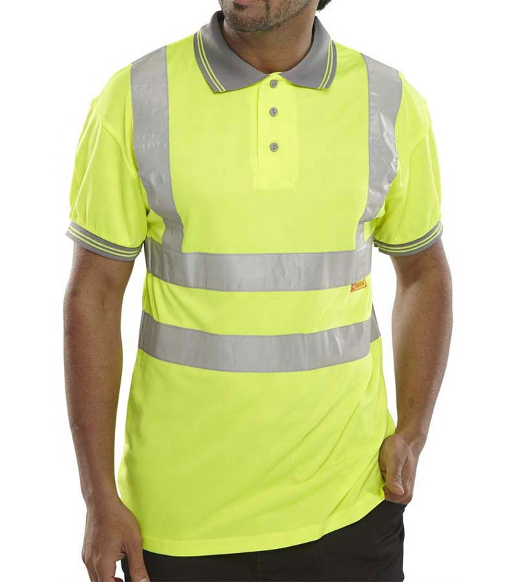 fluorescent roadway <strong>safety</strong> 100% cotton reflective t-shirt