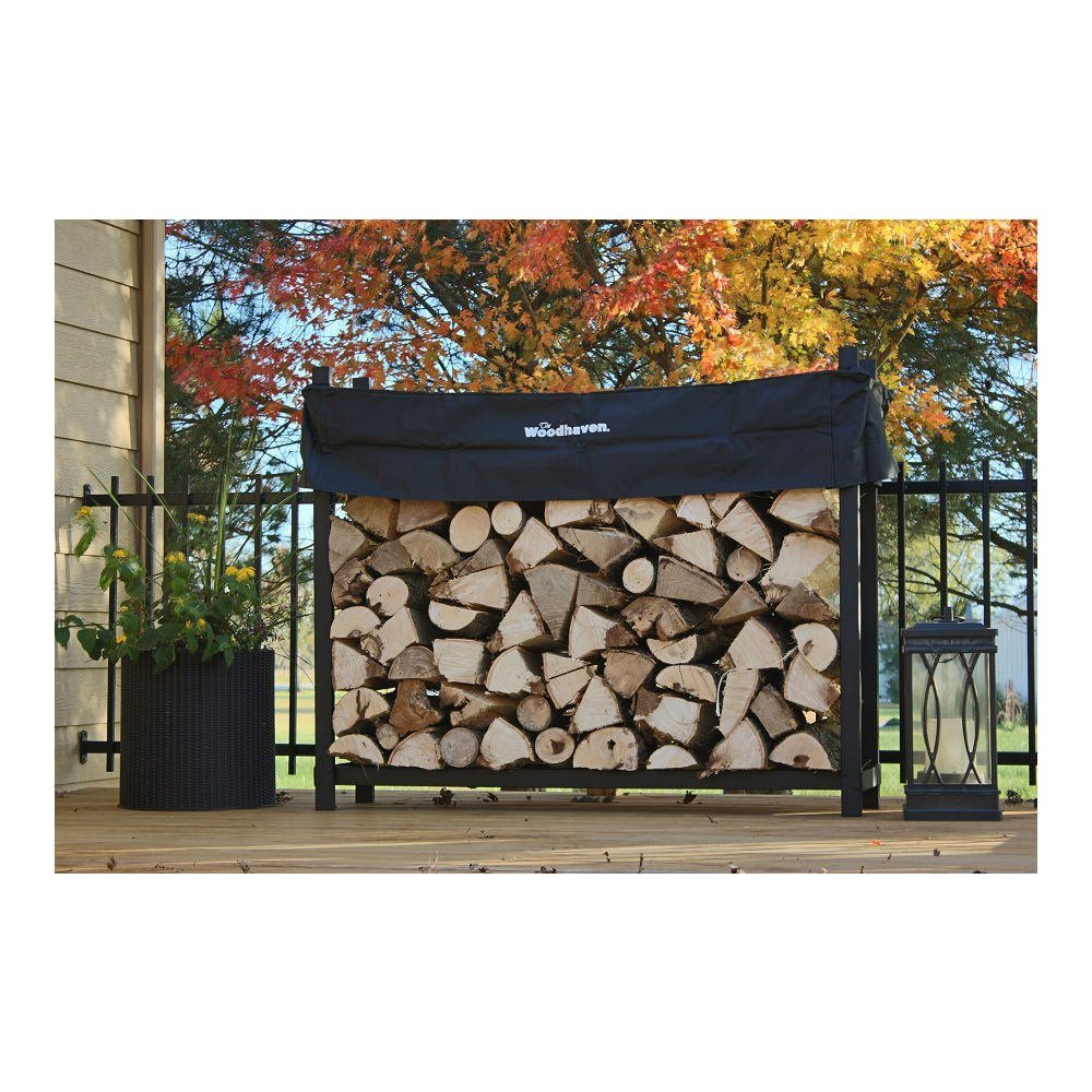 QBC Bundled Woodhaven Firewood Rack - 60-WRC - 5ft Firewood Rack - Black - (4ft x 5ft x 14in) with Standard Cover - Plus Free QBC Firewood Rack eGuide