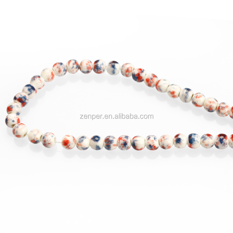 Chinses style porcelain round clay beads , smooth and mottled greek ceramic beads for bracelets DIY