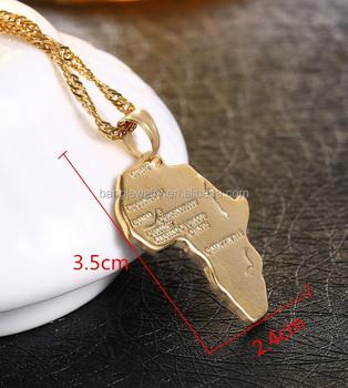 Africa Map Gold Necklace Pendant Women Men Unisex 50cm60cm Pendant