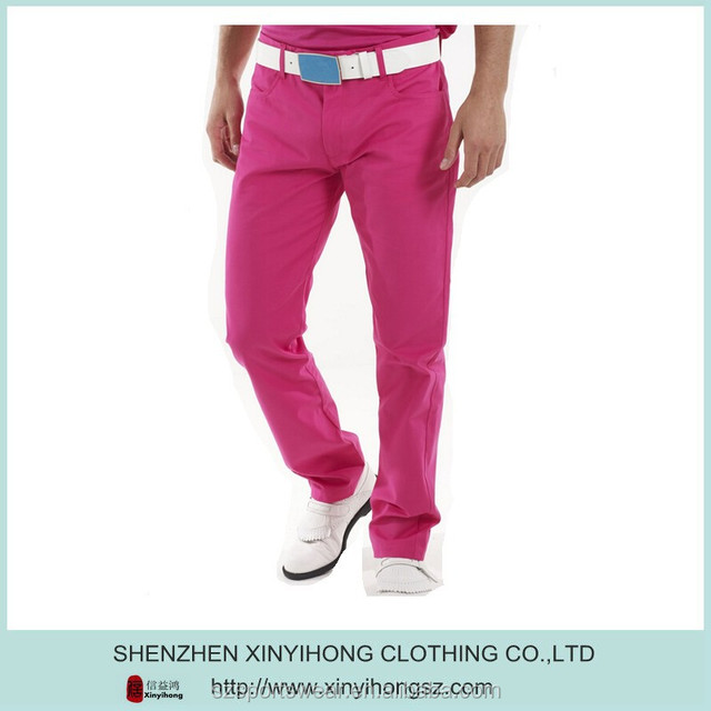 Customized logo cotton/polyester mix fabric mens long golf pants/golf trousers