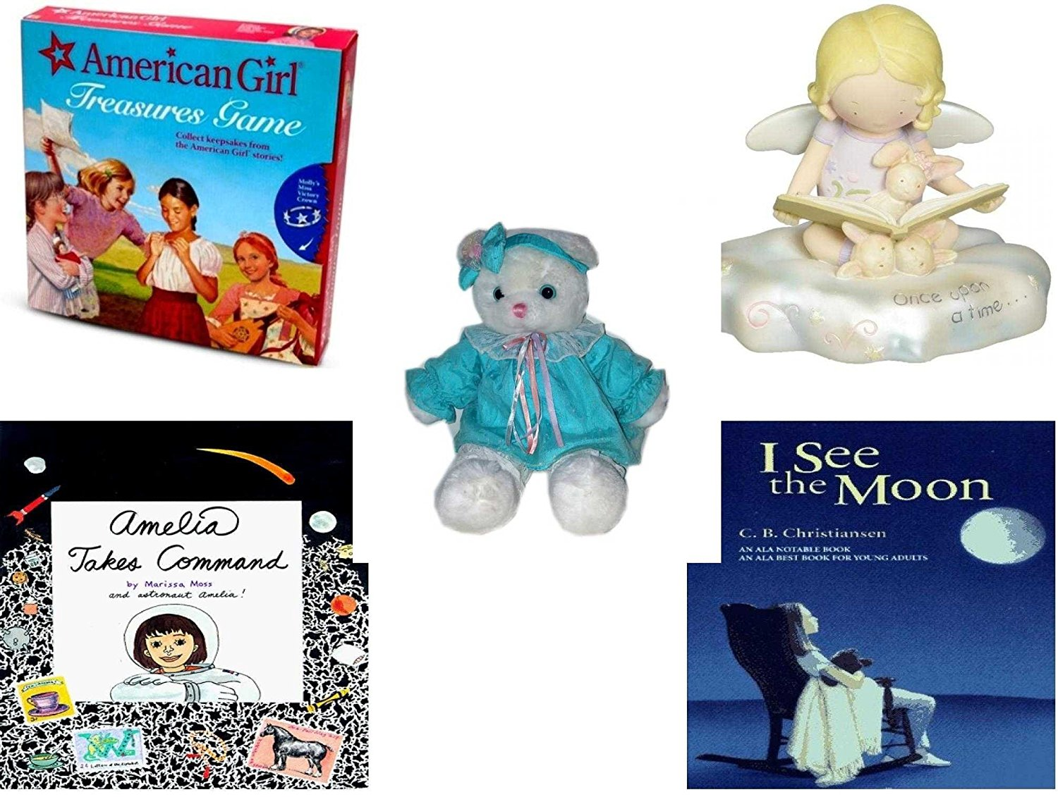 """Girl's Gift Bundle - Ages 6-12 [5 Piece] - American Girl Treasures Game - Cutie Patootie Storytime Angel Figurine - TB Trading Baby Girl White Teddy Bear Plush 16"""" - The All-New Amelia Hardcover Boo"""