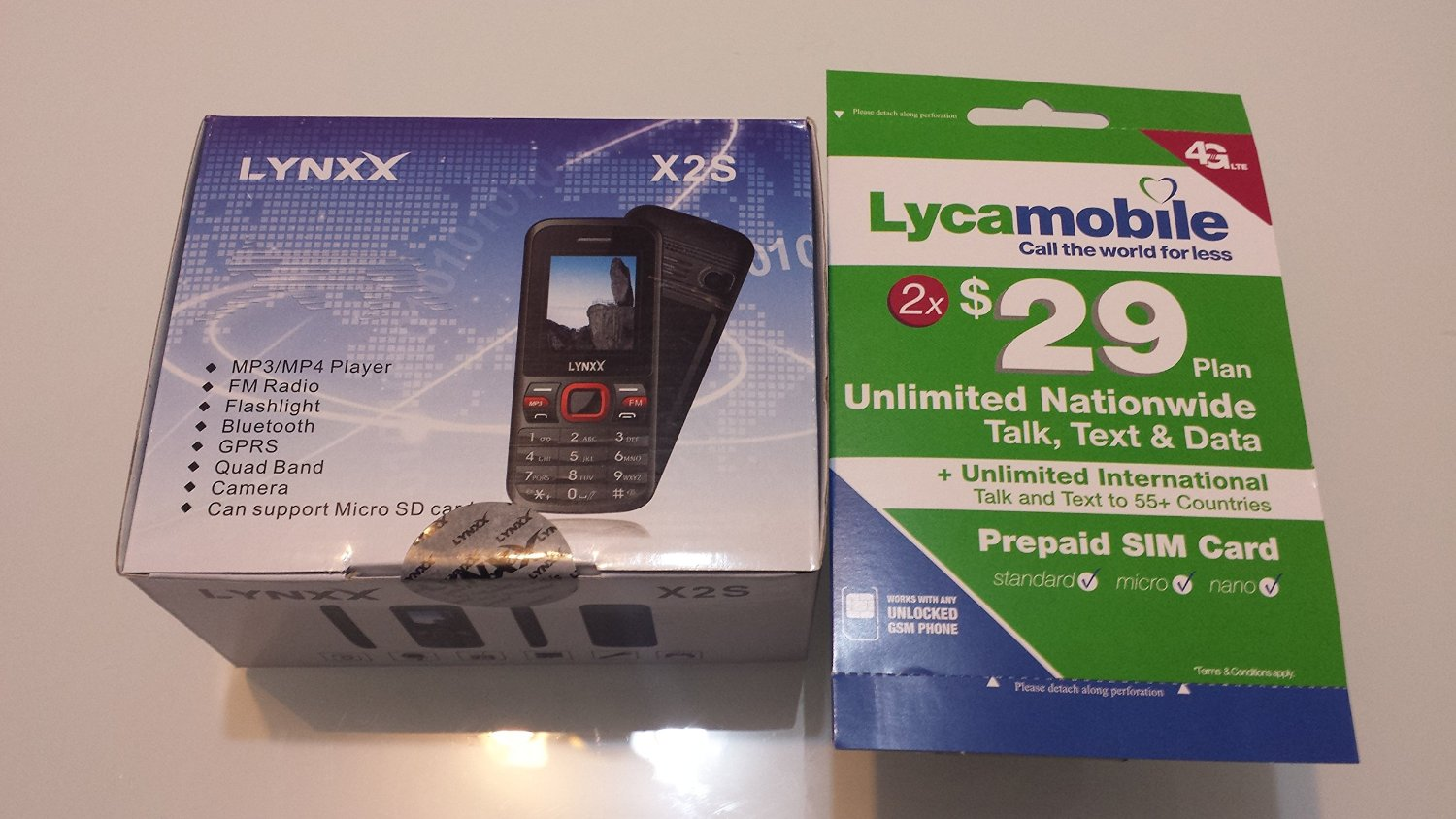 Lynxx X2S Unlocked Dual SIM Quad Band Cell Phone with LYCAMOBILE Simcard w/ MONTHS $29 PLAN
